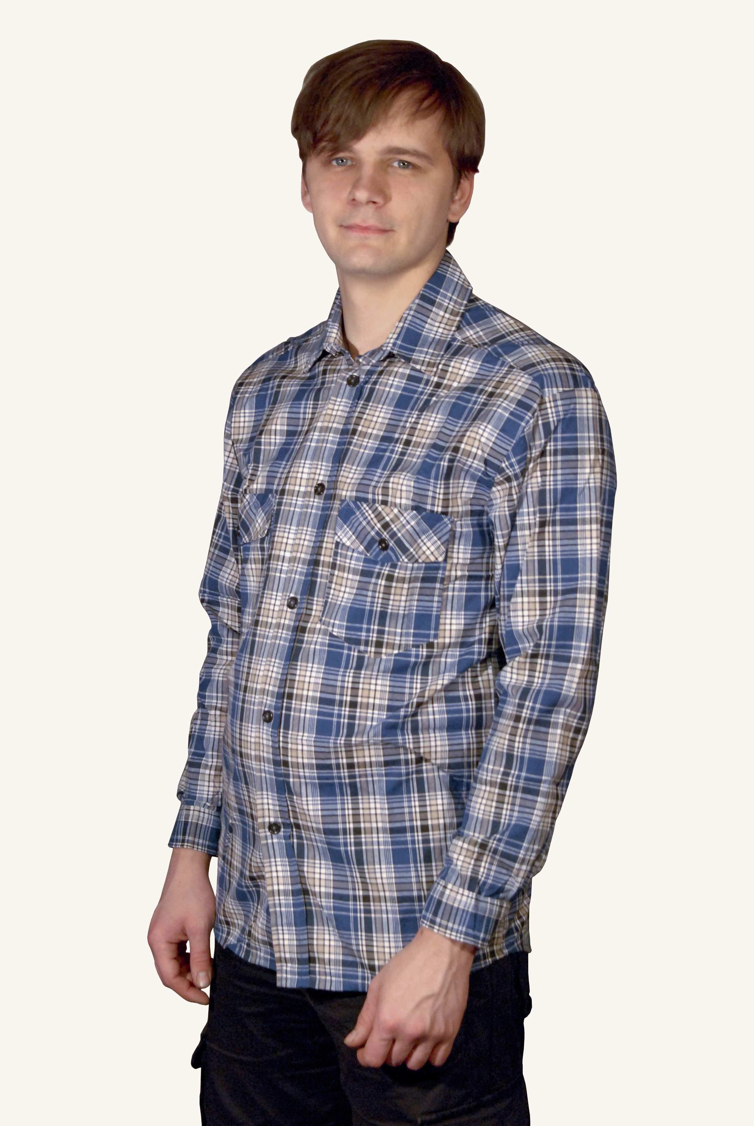 Мужская рубашка шотландка длинный рукав | купить ивановский текстиль оптом